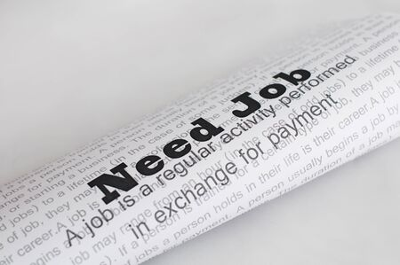 Need Job conception.Text Need Job written on paper photo