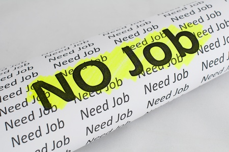 No Job conception.Text No Job written on paper photo