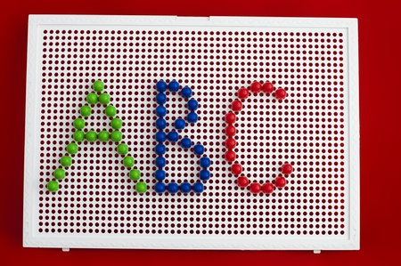 ABC colorful letters on mosaic. Child made alphabet photo