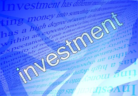 Text investment and blue background wth texts