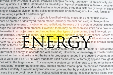 solarenergy: Typed text Energy on paper and texts on background