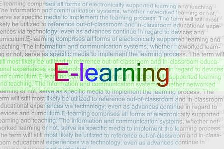 elearn: Typed text E-learning on paper and texts on background