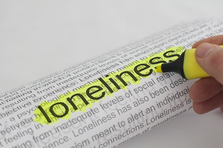 Typed text Loneliness on paper and texts on background photo