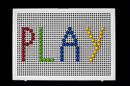 playcentre: Text Play on child mosaic. Colorful mosaic pieces