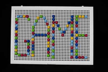 playstation: Text Game on child mosaic. Colorful mosaic pieces