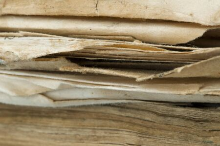 Old worn paper sheets of book Stock Photo - 11690188