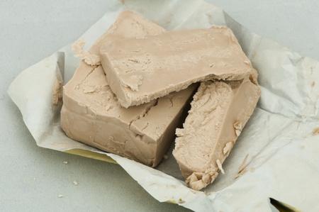 levure: La levure de bi�re fra�che de boulanger sur fond blanc