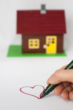 Hand write painting heart and house on background. Real estate conception Stock Photo - 11690089