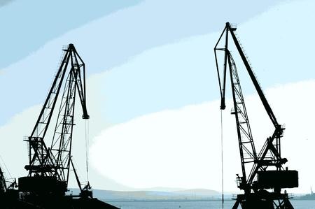 Commercial port cranes. Cranes in a port