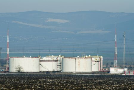 Storage tanks of petroleum products. Oil and chemical refinery