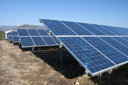 Solar photovoltaic panels. Solar park photo