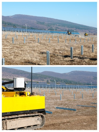 Solar photovoltaic panels. Industrial installation of solar panels photo