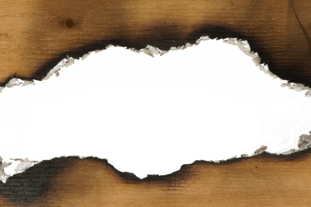 Burned wooden paper and blank space