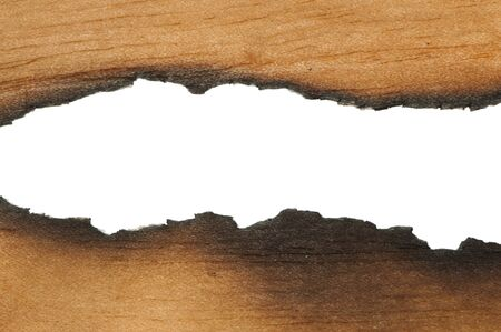 Burned wooden paper and blank space photo