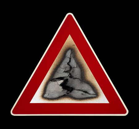 Warning sign fire hazard with smoke. Black isolated Stock Photo - 11936853