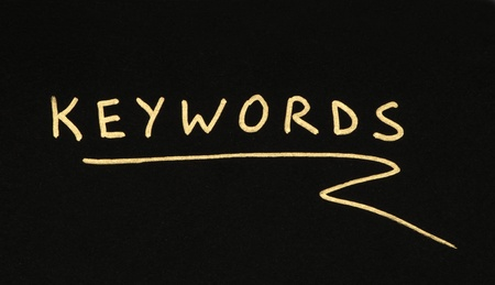 Keywords white text conception over black photo