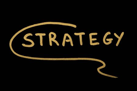 Text Strategy over black background Stock Photo - 12055695