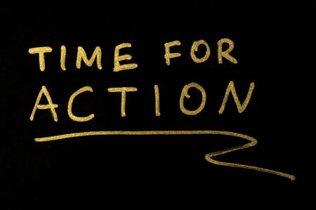 Time for action conception text over black