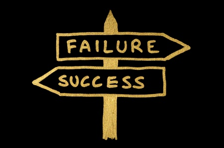 Failure and success conception sign and texts over black photo
