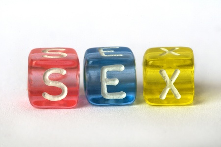 Text Sex on colorful cubes over white Stock Photo - 12322644