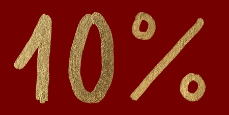 Ten percent discount shiny digits. 10 and % symbols  photo