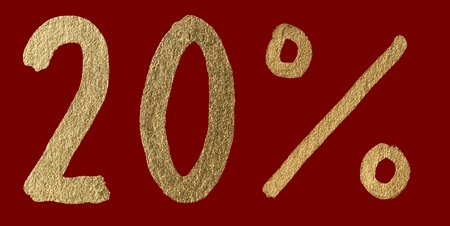 Twenty percent discount shiny digits. 20 and % symbols over red photo