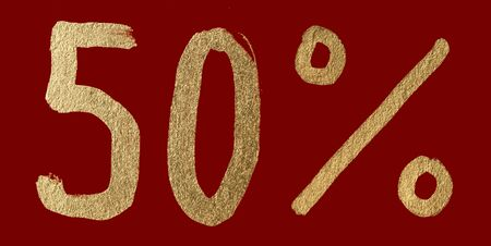 Fifty percent discount shiny digits. 50 and % symbols over red photo