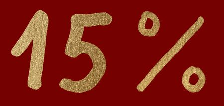 Fifteen percent discount shiny digits. 15 and % symbols over red photo