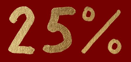 Twenty-five percent discount shiny digits. 25 and % symbols over red photo