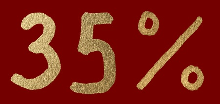 Thirty-five percent discount shiny digits. 35 and % symbols over red photo