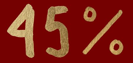 Forty-five percent discount shiny digits. 45 and % symbols over red photo