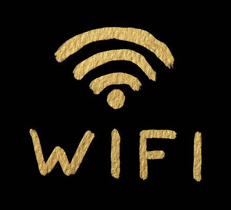Word WIFI and symbol over black Stock Photo