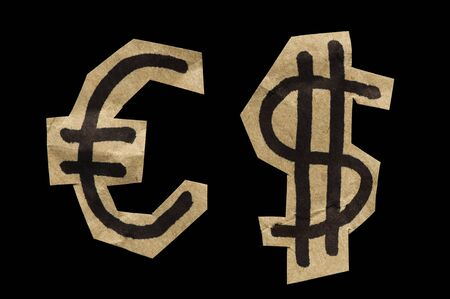 commercial activity: Euro and Dollar Symbols cut from the paper. Balck isolated