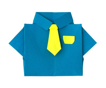 Origami blue shirt with tie. White isolated photo