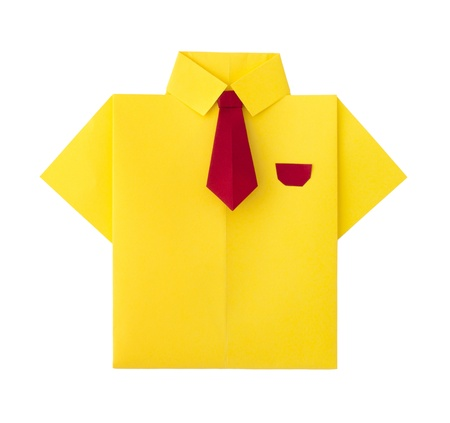 Origami yellow shirt with tie. White isolated photo