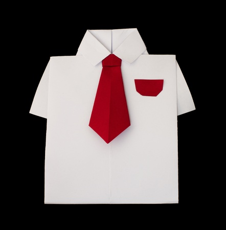 Origami white shirt with tie. Black isolated photo