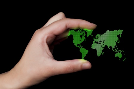 geographical locations: Dot World map business background. Hand holding World map