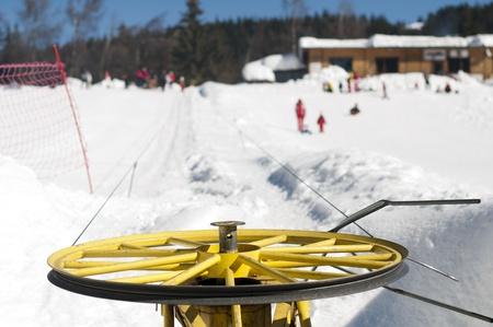 Ski lift and skiers. photo