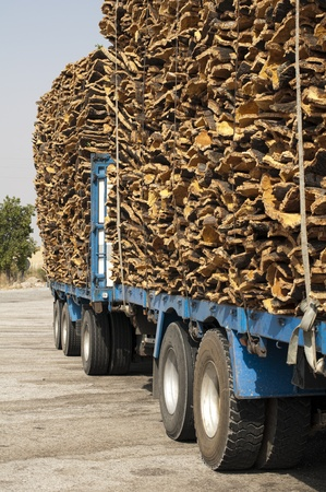 Pieces of cork bark. Loaded on truck . photo