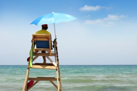 Beach lifeguard on duty.