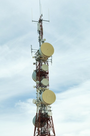 Radio transmitters and antennas. Blue sky photo