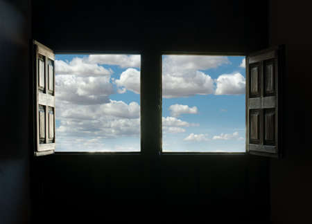 Window view and blue cloudy sky. Two opened windows Stock Photo - 15818131