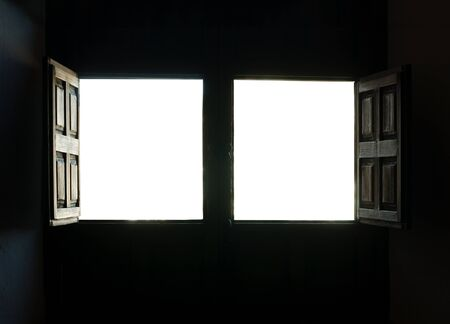 Window view white isolated. Two opened windows Stock Photo - 15818132