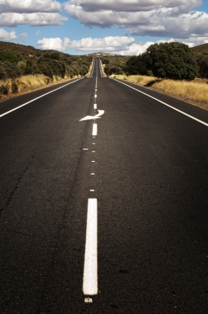 Asphalt road and white line marking. Close up low viewpoint. Stock Photo