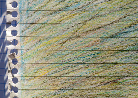 Background of pastel colors background. Sheet of paper with rows photo