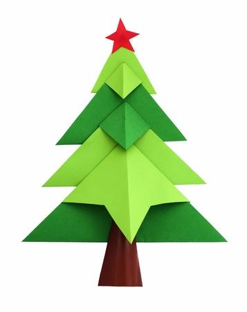 Weihnachtsbaum weiß isoliert origami