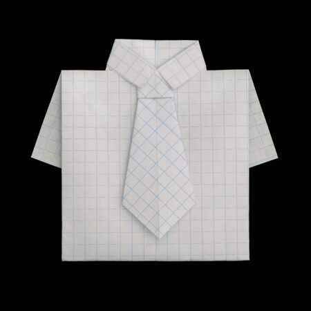 origimi: Isolated paper made shirt Folded origami style