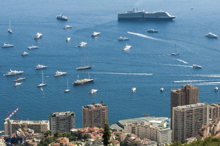 View of Monaco and many yachts in the bay Stock Photo - 16067321