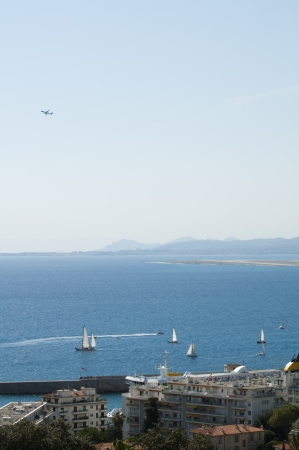 Panorama of Nice. Yachts in sea photo