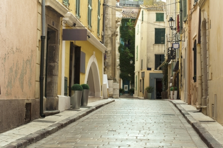 tropez: Old streets and buildings in St. Tropez Stock Photo